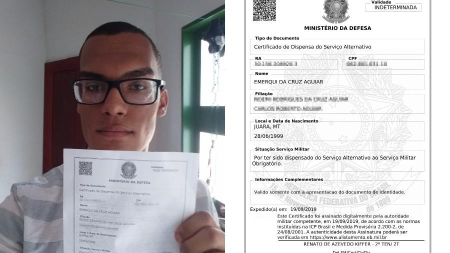 Emerqui da Cruz Aguiar, 20, faltou por dois anos seguidos à seleção, pagou multas e depois deu entrada no pedido de dispensa - Arte/UOL