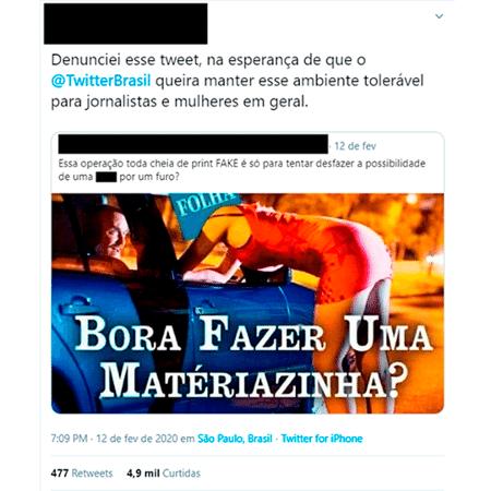 Denuncia de usuária sobre tuíte contra a jornalista Patrícia Campos Mello - Reprodução/Twitter