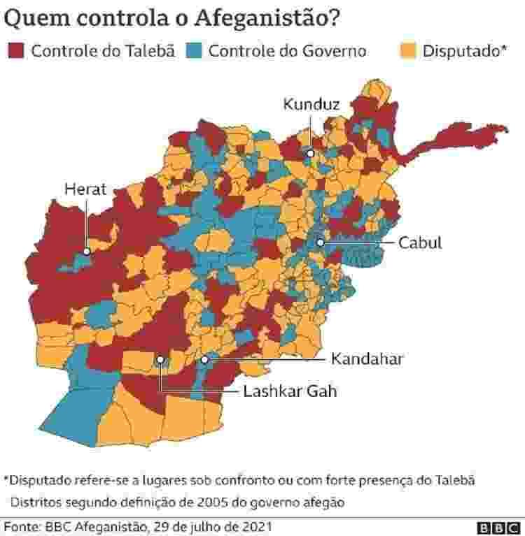 Mapa de quem controla o Afeganistão - BBC - BBC