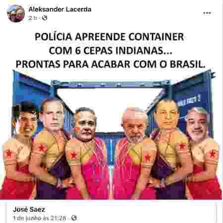 """Coronel Aleksander Lacerda fez postagem em que João Doria (PSDB), governador de São Paulo, é citado como """"cepa indiana"""" - Reprodução - Reprodução"""