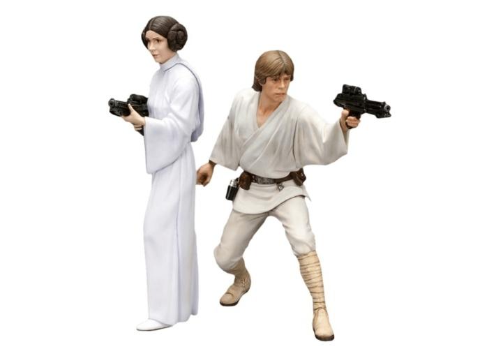 Estátuas da princesa Leia e de Luke Skywalker. O kit com as duas custa R$ 650 na Loja Mundo Geek