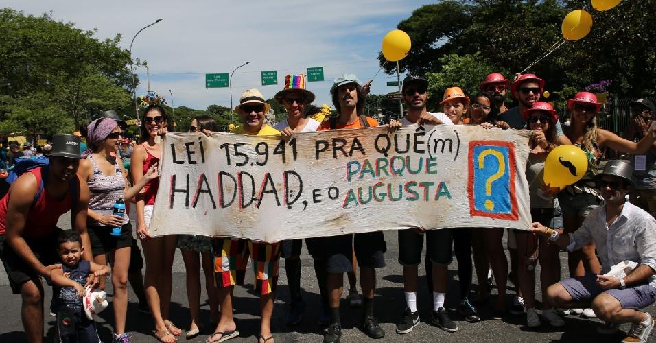 31.jan.2016 - Foliões e ativistas pedem que a área do parque Augusta, na região central de São Paulo (SP) não seja ocupada por prédios. A manifestação, neste domingo (31), aconteceu em frente ao parque do Ibirapuera