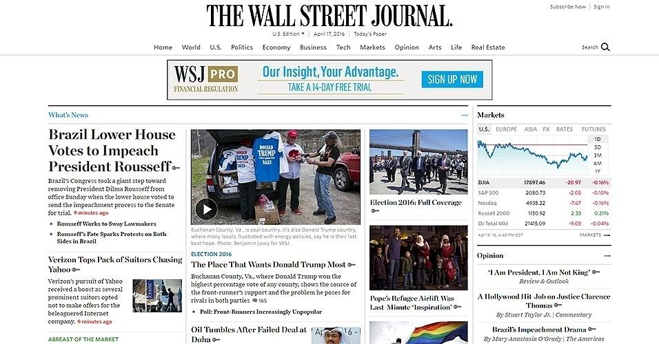 """17.abr.2016 - O jornal """"The Wall Street Journal"""", dos Estados Unidos, deu destaque ao resultado da votação do impeachment da presidente Dilma na Câmara dos Deputados"""