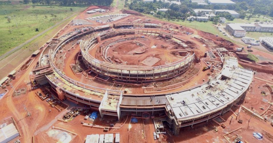 Canteiro de obras do Sirius, acelerador de elétrons de quarta geração em construção do campus do CNPEM (Centro Nacional de Pesquisa em Energia e Materiais). 20% das obras, orçadas em R$ 1,75 bilhões, já foram concluídas