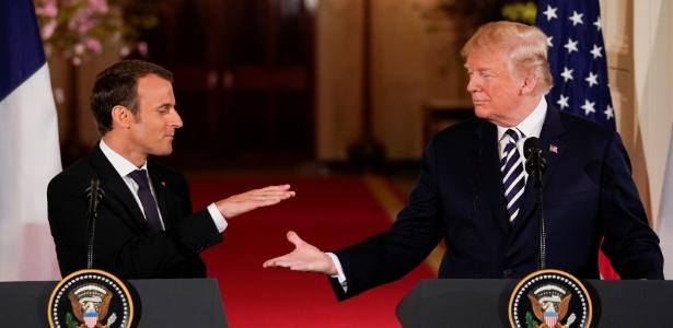 Emmanuel Macron e Donald Trump após entrevista coletiva na Casa Branca - Jonathan Ernst/Reuters