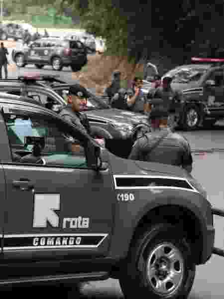 PMs da Rota em operação que terminou com 11 mortos em Guararema, interior de SP - 04.abr.2019 - Jonny Ueda/Futura Press/Estadão Conteúdo