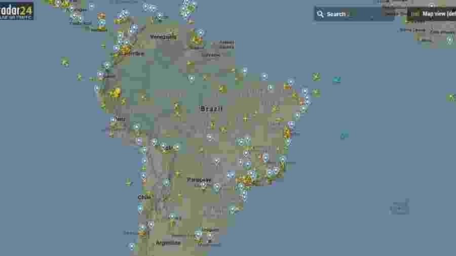 Cobertura do FlightRadar24 no espaço aéreo brasileiro - Reprodução
