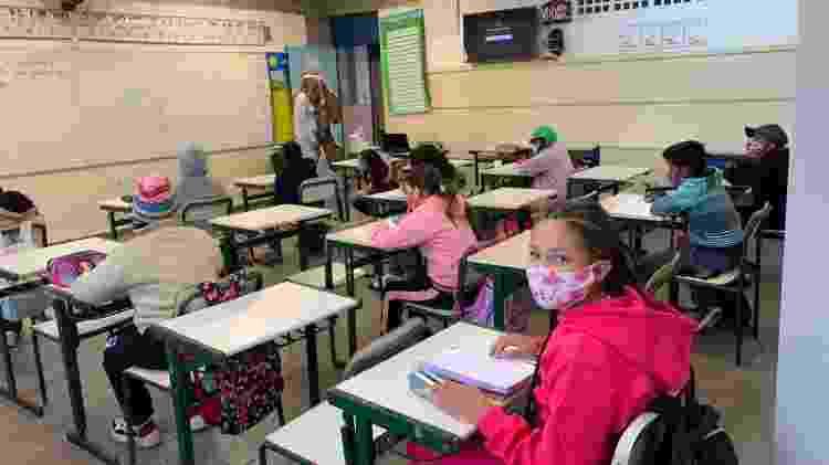 Volta às aulas em SP. Aluna Ana Clara - Ana Paula Bimbati/UOL - Ana Paula Bimbati/UOL