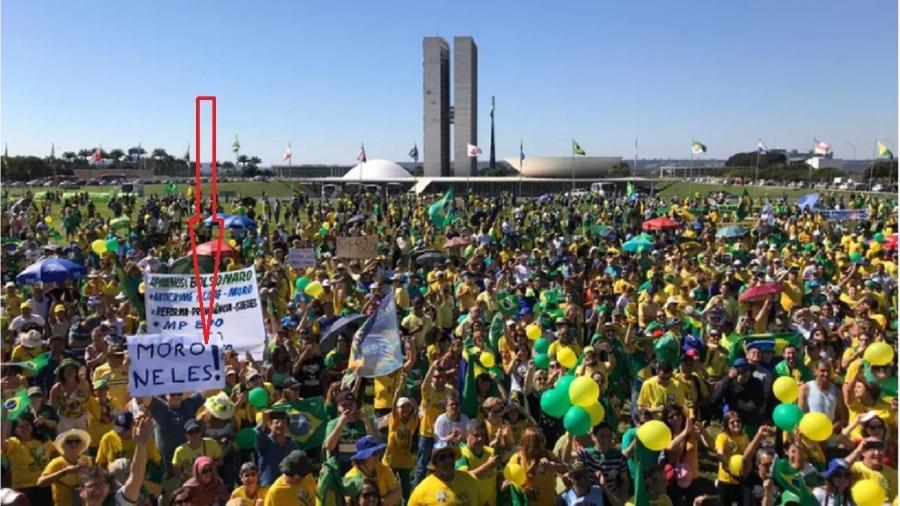 Primeiro ato fascistoide estimulado por Bolsonaro contra o Congresso e o Supremo aconteceu no dia 26 de maio de 2019. Vejam ali no destaque um dos heróis dos golpistas de então... Sim, ele: Sergio Moro! - Fernanda Calgaro/G1