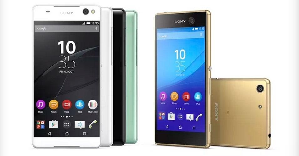 3.ago.2015 - A Sony apresenta dois novos smartphones com foco em selfies e megapixels. O C5 Ultra é o primeiro aparelho da categoria Xperia a contar com câmeras traseira e dianteira de 13 megapixels. Ambas vêm com o sensor Exmor RS e modo HDR para fotos e vídeos. Também há flash para os dois lados e as câmeras têm uma angulação de 22 milímetros, o que faz com que caibam mais coisas no plano da foto. Já o M5 também vem com câmera de selfie de 13 MP, mas a traseira é de 21,5 MP e captura vídeos em 4K