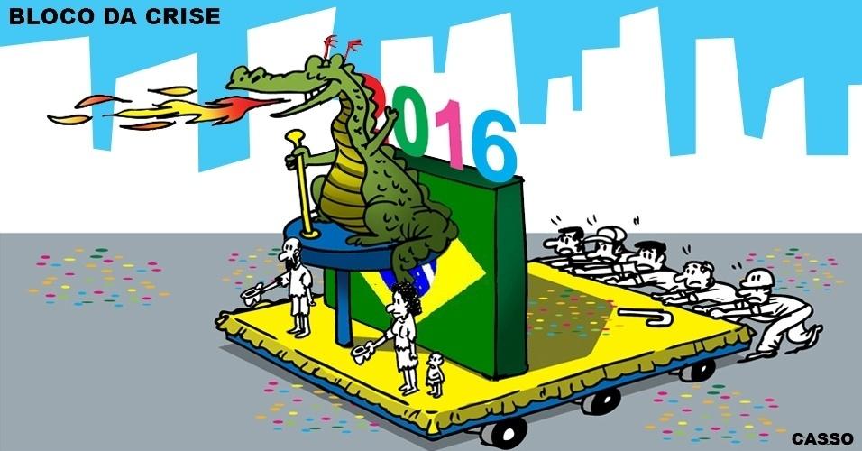26.jan.2016 - Olha quem vai liderar os blocos de Carnaval em 2016: o dragão da inflação