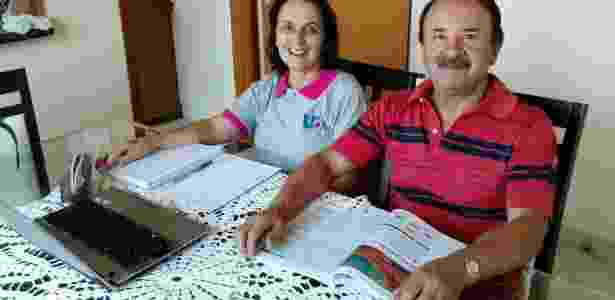Os universitários Ana Balbuena, 63, e seu marido, Eliseu Machado, 69 - Sabrina Machado Fabretti/Arquivo pessoal
