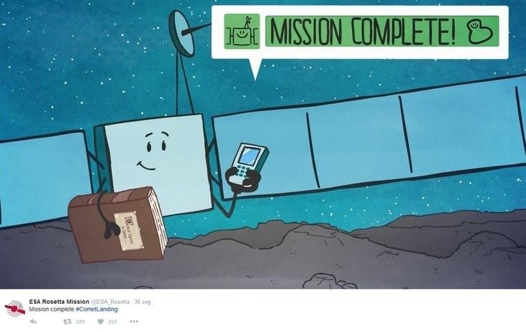 30.set.2016 - MISSÃO COMPLETA-  A sonda Rosetta pousou com sucesso nesta sexta-feira (30.setembro) no cometa 67P/Churyumov-Gerasimenko. A aterrissagem põe fim a uma missão de mais de uma década da ESA (Agência Espacial Europeia) vista como sucesso científico e de público, e que abre o caminho para futuros horizontes