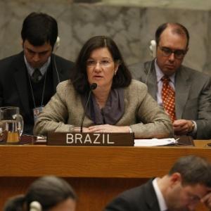 A diplomata Maria Luiza Ribeiro Viotti fala durante sessão da ONU em Nova York