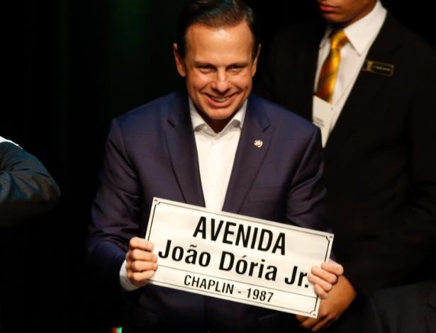 O prefeito de São Paulo, João Dória (PSDB), ao receber o título de cidadão natalense em agosto deste ano