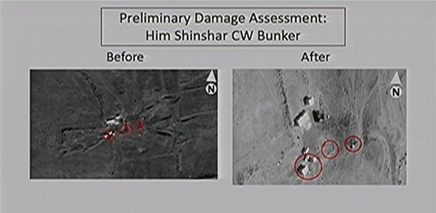 Antes e depois de um dos alvos atacados na Síria nos arredores de Homs