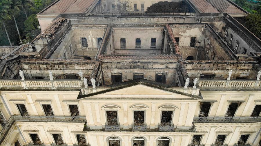 3.set.2018 - Vista do Museu Nacional, na Quinta da Boa Vista, na zona norte do Rio, após incêndio no ano passado - Thiago Ribeiro/Agif/Estadão Conteúdo