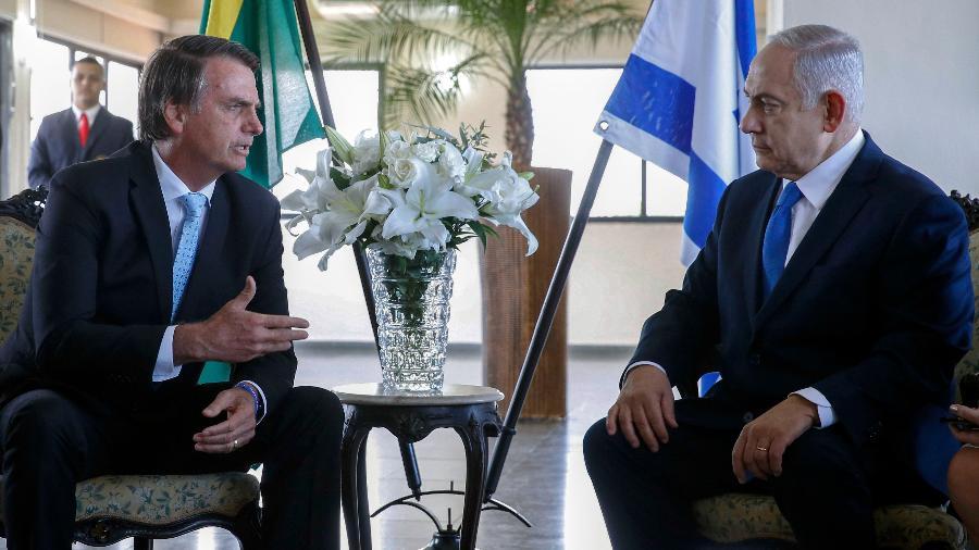 28.dez.2018 - Jair Bolsonaro se reúne com o premiê de Israel, Benjamin Netanyahu, no Rio de Janeiro - Fernando FRAZAO / AGENCIA BRASIL / AFP