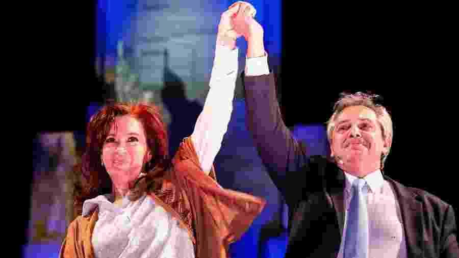 7.ago.2019 - A ex-presidente Cristina Kirchner participa de ato político ao lado de Alberto Fernández, pré-candidato à presidência da Argentina na chapa que tem Kirchener como vice - Divulgação/Frente de Todos