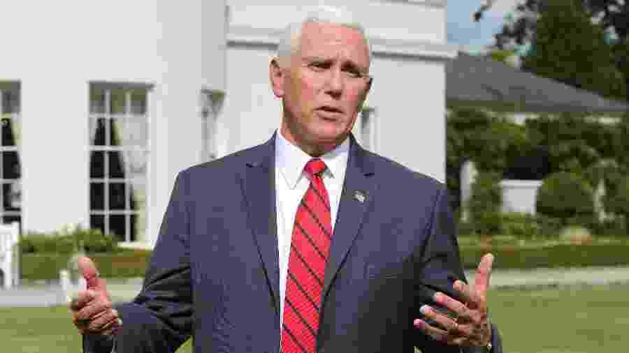 """Vice-presidente dos EUA, Mike Pence, descartou sugestão feira pelo procurador-geral dos EUA de país e aliados assumirem controle de empresas rivais da Huawei - Lorraine O""""Sullivan/Reuters"""