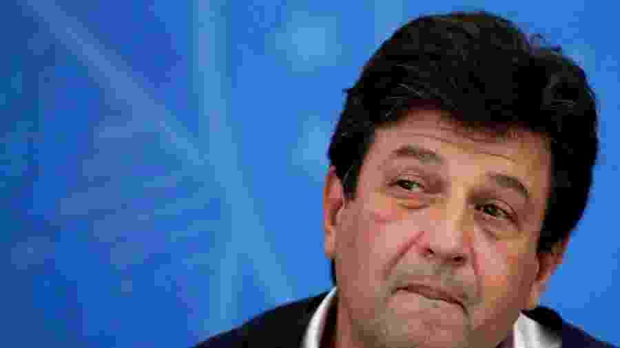 Ministro da Saúde, Luiz Henrique Mandetta, durante entrevista coletiva no Planalto - UESLEI MARCELINO