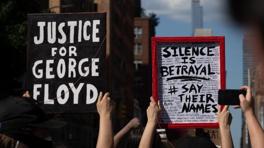 Protestos contra a brutalidade policial em Nova York, dias após a morte de George Floyd em Minneapolis - AFP