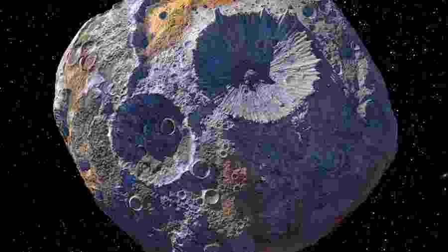 16 Psyche, asteroide de ferro, níquel, ouro e platina do sistema solar - Maxar/ASU/P. Rubin/NASA/JPL-Caltech