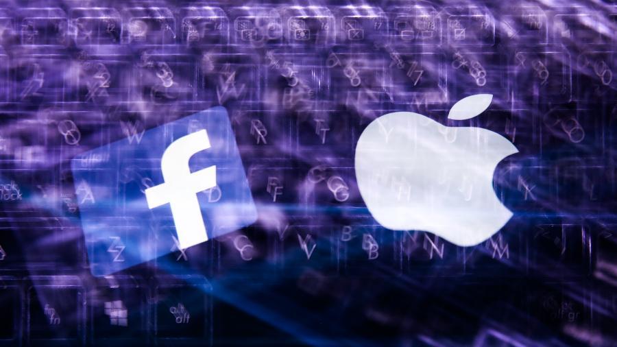 Logos de Facebook e Apple - NurPhoto via Getty Images
