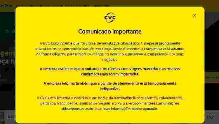 Mensagem no site da CVC comunicando o ataque hacker - Reprodução - Reprodução