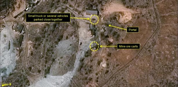 Imagem obtida nesta quinta-feira (5) revela a movimentação de veículos e armamentos no local