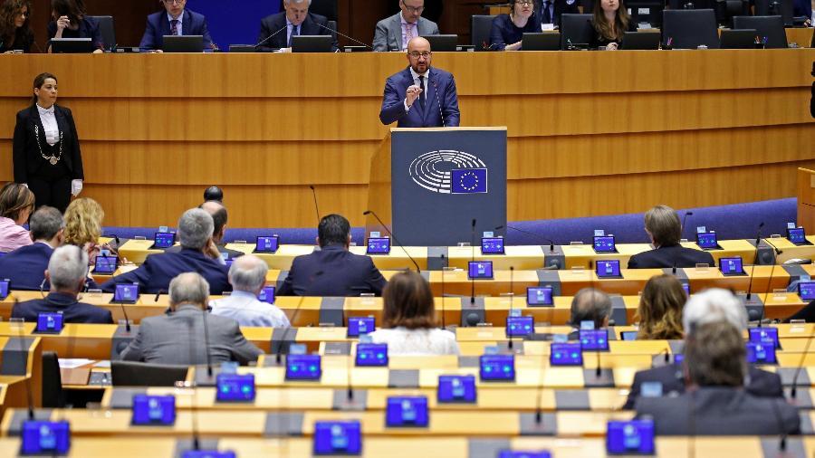 Premiê belga Charles Michel durante sessão do Parlamento Europeu, em Bruxelas - Francois Lenoir/Reuters