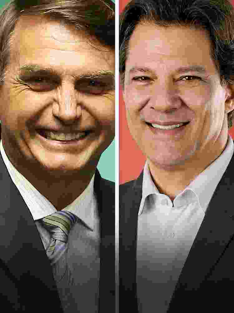 Jair Bolsonaro X Fernando Haddad mobile - Arte/UOL