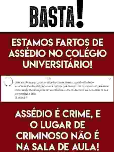 Cartaz feito por alunos da UFMA contra assédio sexual - Divulgação