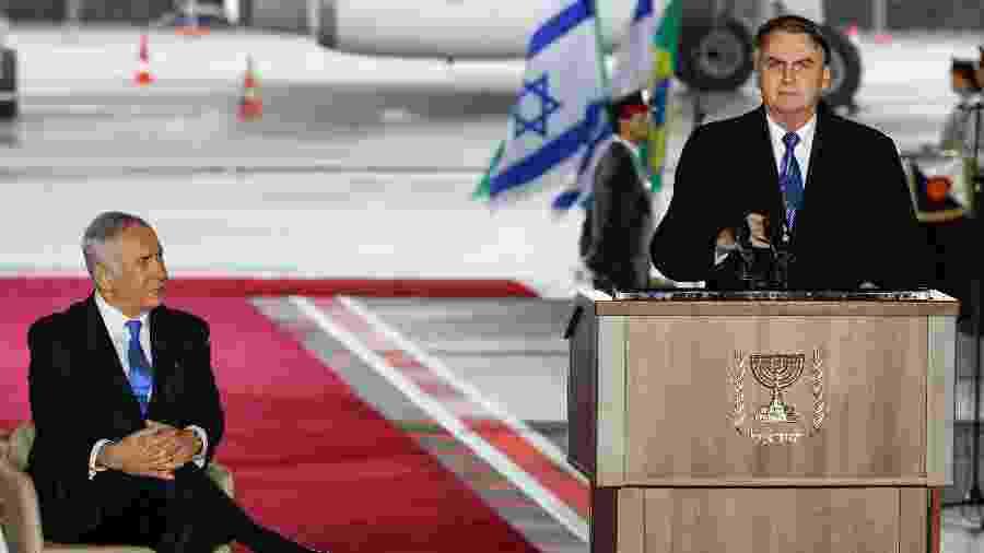 31.mar.2019 -Presidente do Brasil, Jair Bolsonaro, discursa ao lado do primeiro-ministro israelense, Benjamin Netanyahu, em visita a Israel - Jack Guez/AFP