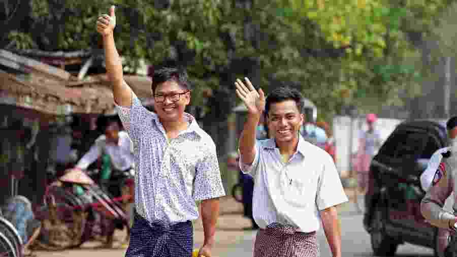 Dois jornalistas da agência Reuters foram liberados ao receber perdão do presidente da Birmânia após um ano e meio na prisão por violarem a Lei de Segredos Oficiais - Reuters/Ann Wang