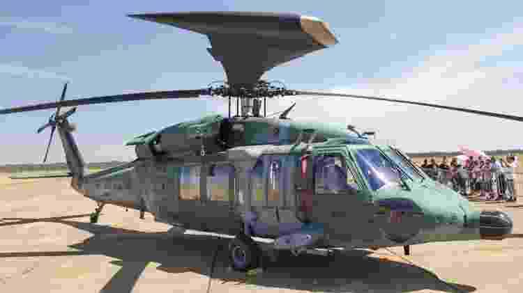 O UH-60 da Força Aérea Brasileira, também conhecido como Black Hawk, tem quatro pás e é famoso por suas missões de resgate e salvamento - Alexandre Saconi/UOL - Alexandre Saconi/UOL