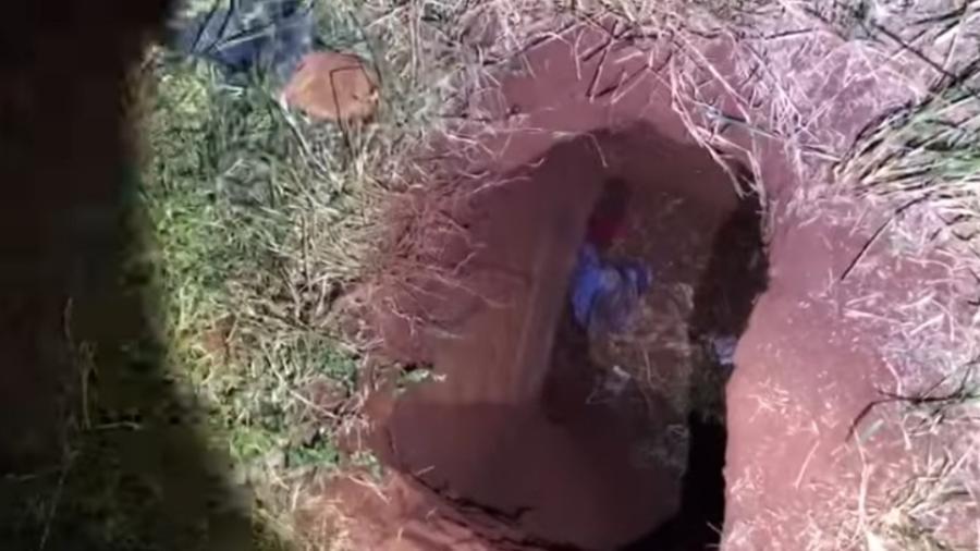 Túnel que teria sido usado por integrantes do PCC para fugir de prisão no Paraguai - Reprodução