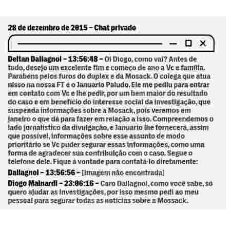 Print de diálogos vazados entre Diogo Mainardi e Deltan Dallagnol no The Intercept Brasil - reprodução