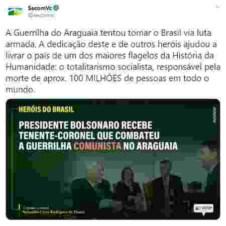 Mensagem postada em rede social pelo perfil oficial da Secretaria de Comunicação do governo Bolsonaro - Reprodução/Twitter