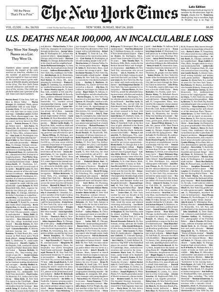 Coronavírus: The New York Times coloca nomes de mil vítimas na 1ª ...