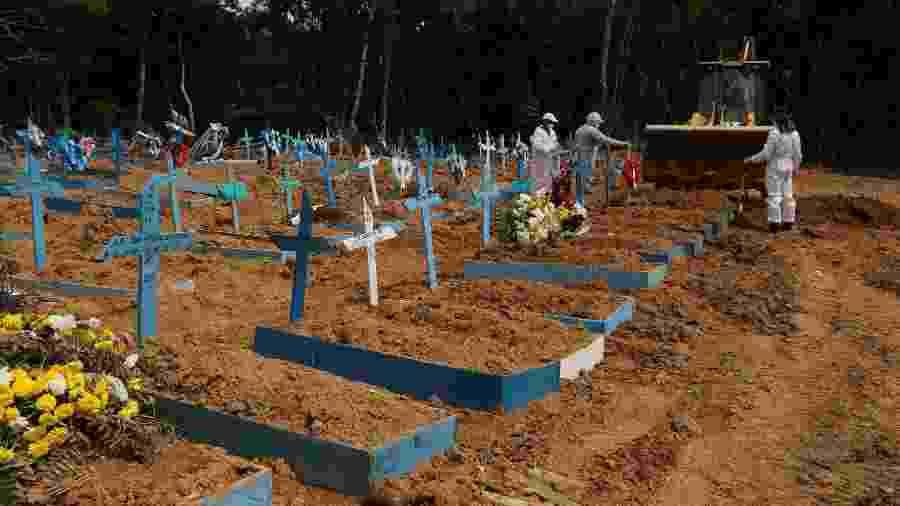 Enterro de Luiz Alves da Silva de 62 anos, vítima da Covid-19, no Cemitério Nossa Senhora Aparecida nesta quinta-feira (04) em Manaus (AM) - Edmar Barros/Futura Press/Estadão Conteúdo