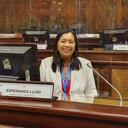 Guadalupe Llori, do partido indígena de esquerda Pachakutik, foi eleita presidente da Assembleia Nacional - Reprodução/Twitter
