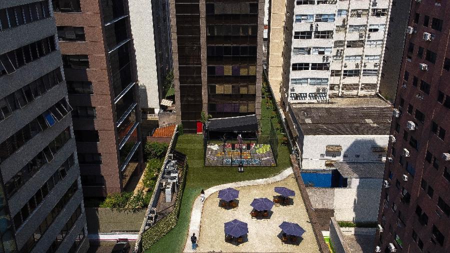 Vista aérea de coworking na região da avenida Paulista, em São Paulo - Miguel Schincariol/AFP
