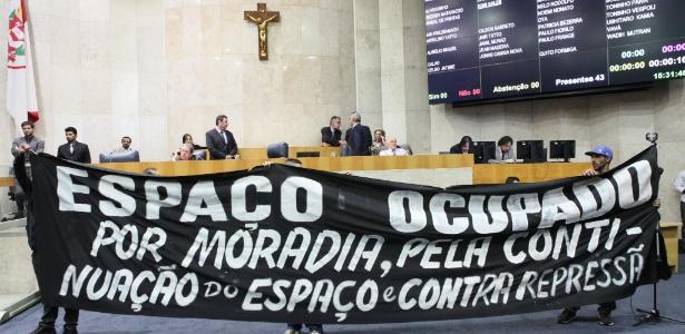 Grupo ocupou por pouco mais de um hora plenário da Câmara Municipal de São Paulo