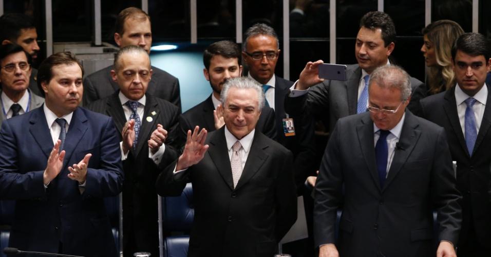31.ago.2016 - Michel Temer toma posse como presidente do Brasil no plenário do Senado Federal, em Brasília, após afastamento definitivo da agora ex-presidente Dilma Rousseff