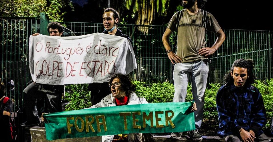 7.set.2016 - Manifestantes praça da República em ato que pede a saída do presidente Michel Temer da Presidência da República