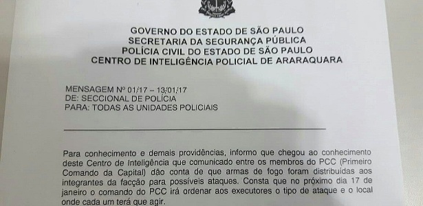 Comunicado do Governo de São Paulo que alerta para uma possível ação do PCC