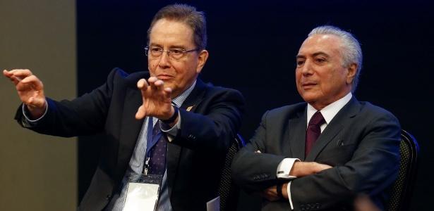 O presidente do BNDES, Paulo Rabello de Castro, ao lado do presidente Michel Temer