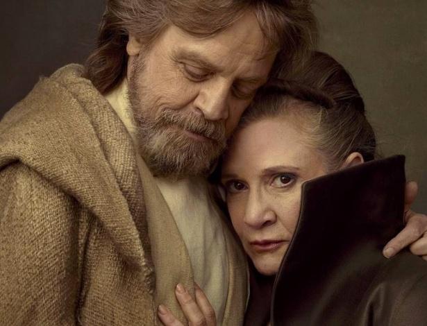 """Os irmãos Luke (Mark Hamill) e Leia (Carrie Fisher) em """"Star Wars: Os Últimos Jedi"""""""