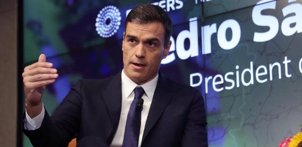 O presidente do governo da Espanha, Pedro Sanchez em um encontro promovido pela agência de notícias Reuters, em Nova York - Shannon Stapleton/ Reuters
